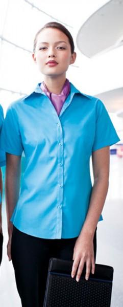 Ladies Poplin Blouse Short Sleeve