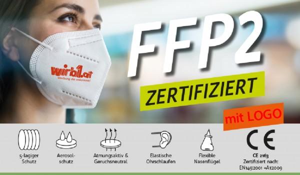FFP2 Schutzmaske mit Logo zertifiziert